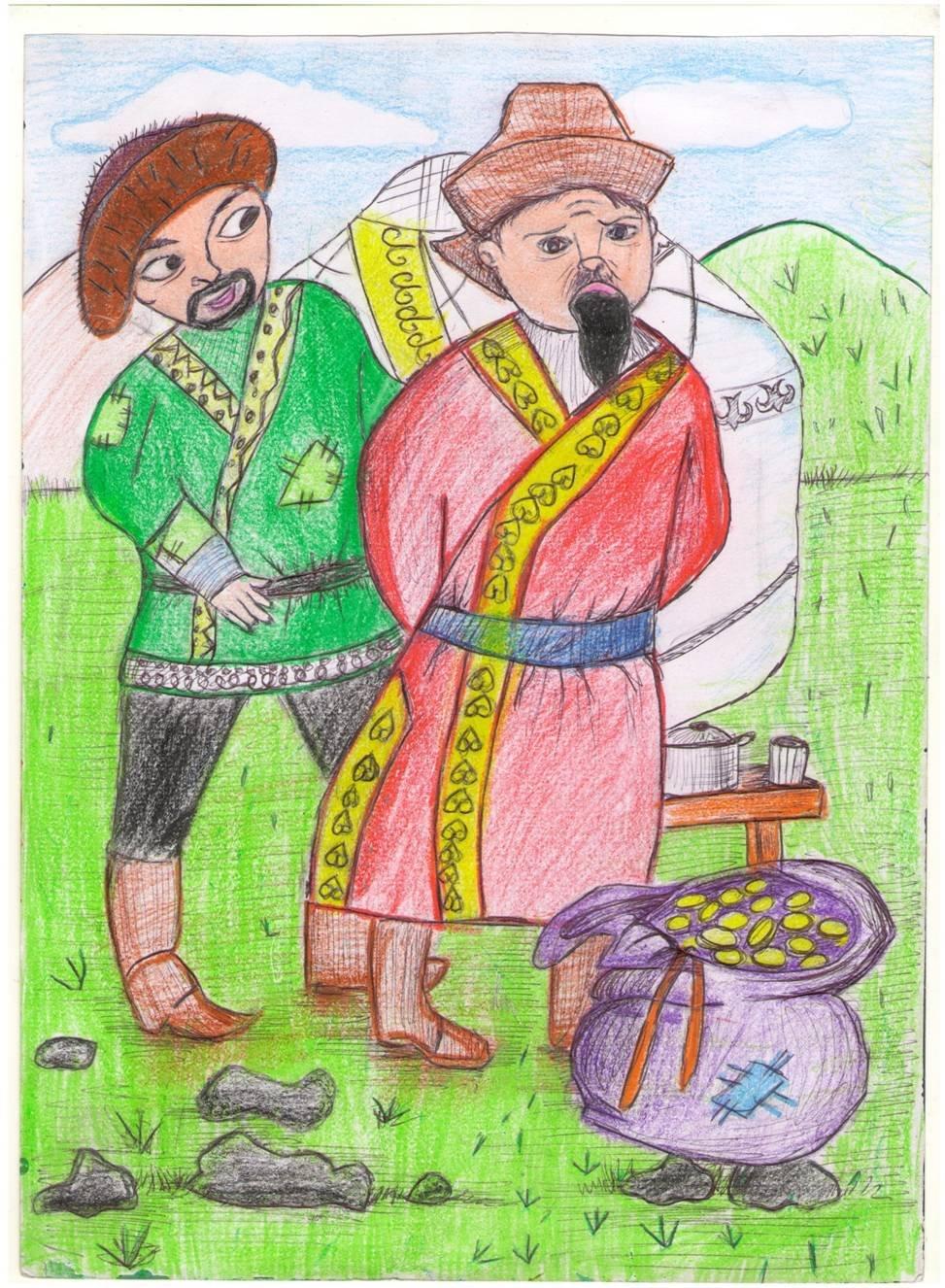 разных иллюстрации к казахской сказке добрый и злой тип прически, который